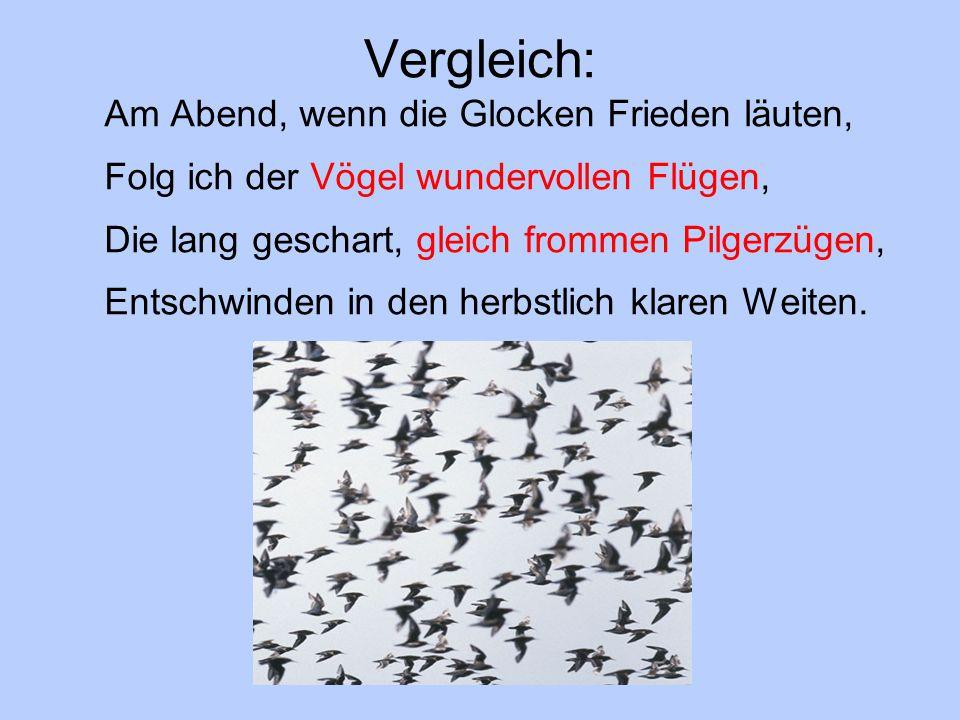 Vergleich: Am Abend, wenn die Glocken Frieden läuten, Folg ich der Vögel wundervollen Flügen, Die lang geschart, gleich frommen Pilgerzügen, Entschwin