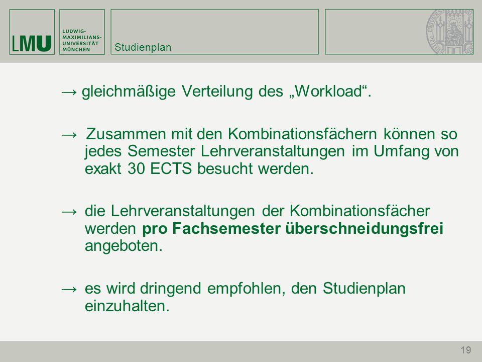 """Studienplan → gleichmäßige Verteilung des """"Workload ."""