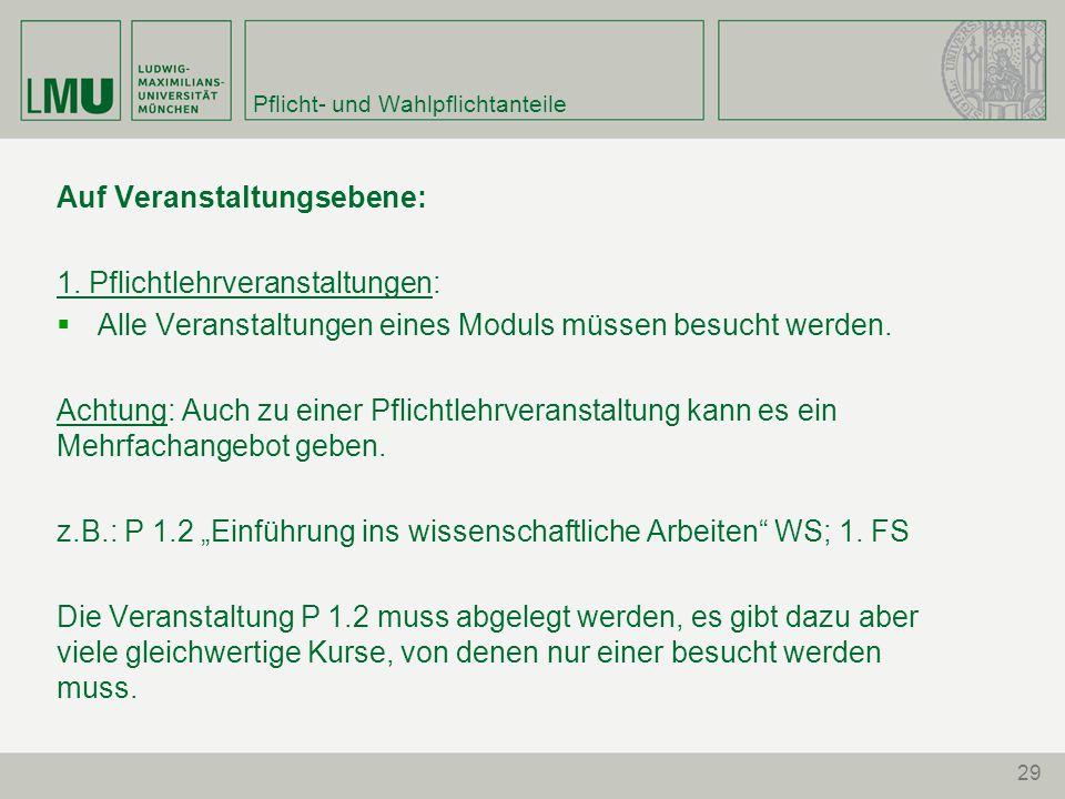 29 Pflicht- und Wahlpflichtanteile Auf Veranstaltungsebene: 1.