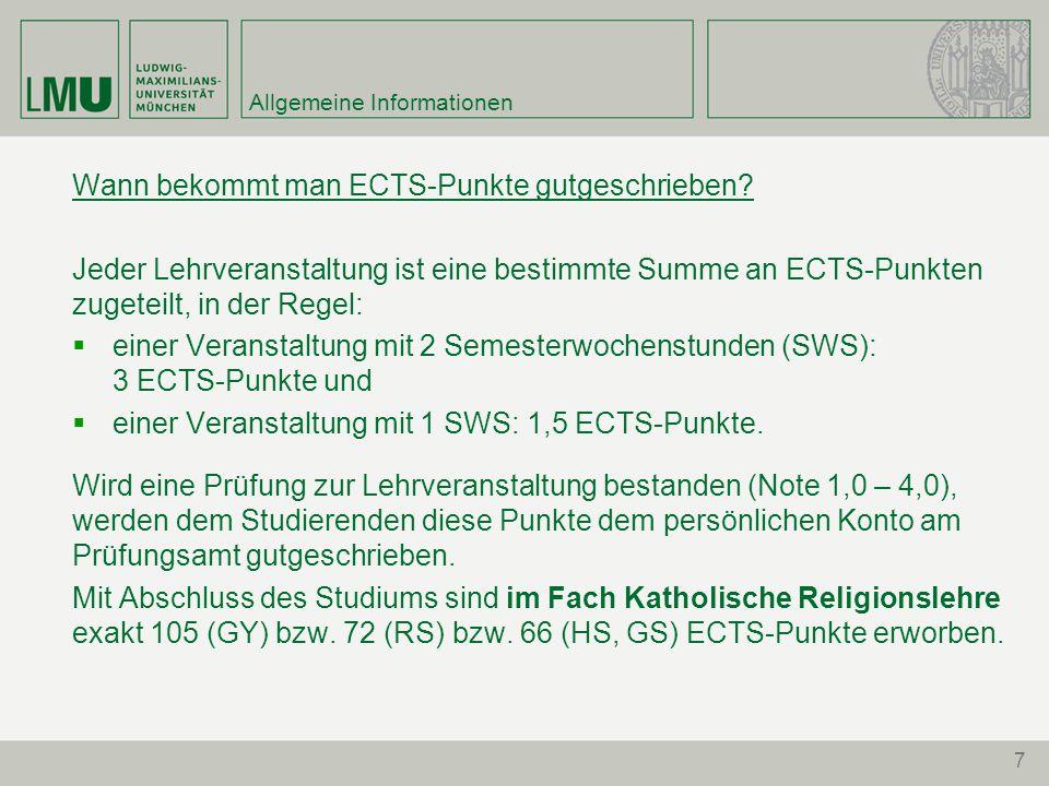 7 Allgemeine Informationen Wann bekommt man ECTS-Punkte gutgeschrieben.