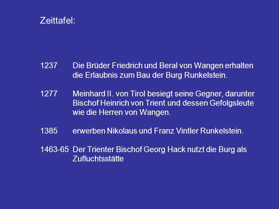 1. Zeittafel: 1237Die Brüder Friedrich und Beral von Wangen erhalten die Erlaubnis zum Bau der Burg Runkelstein. 1277Meinhard II. von Tirol besiegt se