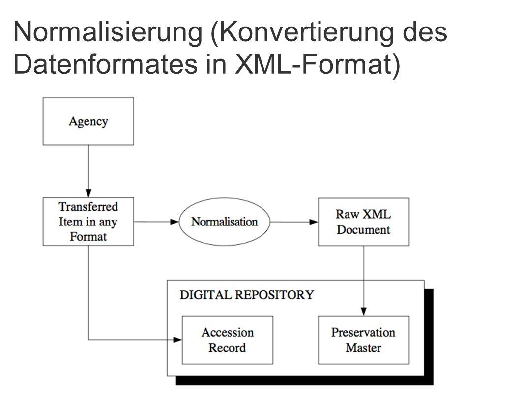 Normalisierung (Konvertierung des Datenformates in XML-Format)