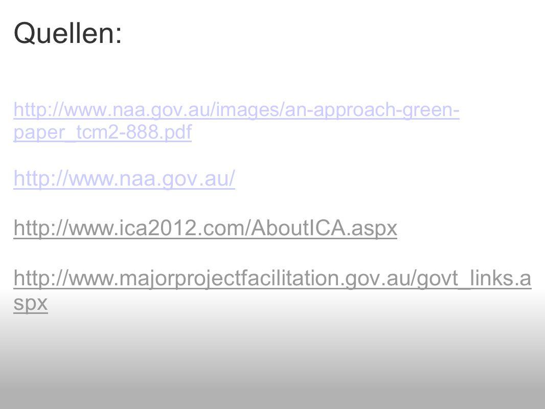 Quellen: http://www.naa.gov.au/images/an-approach-green- paper_tcm2-888.pdfhttp://www.naa.gov.au/images/an-approach-green- paper_tcm2-888.pdf http://www.naa.gov.au/ http://www.ica2012.com/AboutICA.aspx http://www.majorprojectfacilitation.gov.au/govt_links.a spx