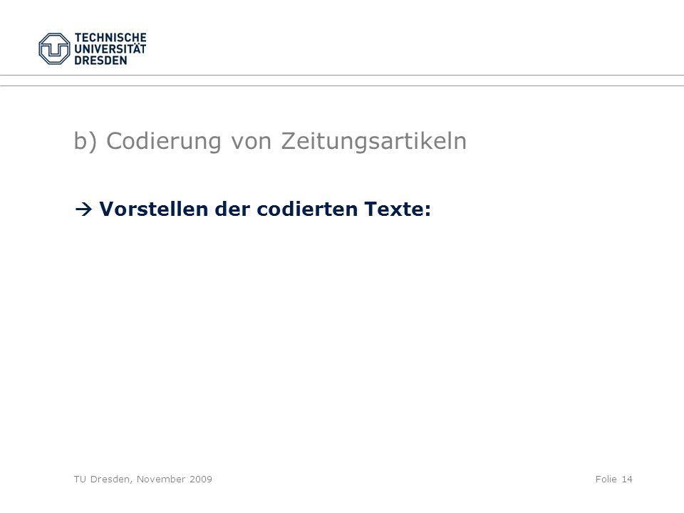 TU Dresden, November 2009Folie 14 b) Codierung von Zeitungsartikeln  Vorstellen der codierten Texte: