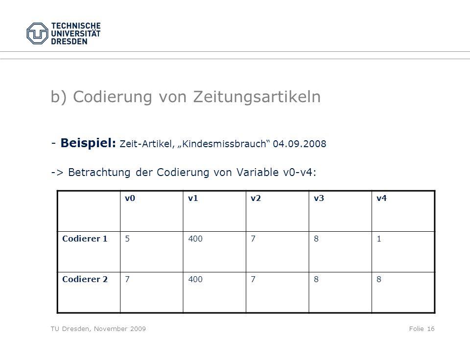 """TU Dresden, November 2009Folie 16 b) Codierung von Zeitungsartikeln - Beispiel: Zeit-Artikel, """"Kindesmissbrauch 04.09.2008 -> Betrachtung der Codierung von Variable v0-v4: v0v1v2v3v4 Codierer 15400781 Codierer 27400788"""