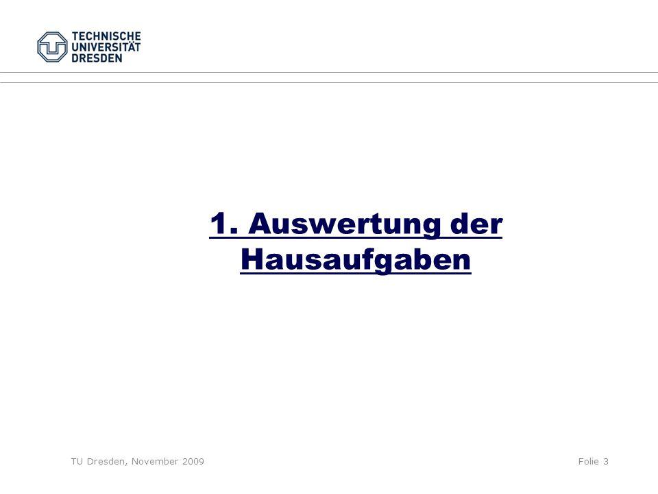 TU Dresden, November 2009Folie 3 1. Auswertung der Hausaufgaben