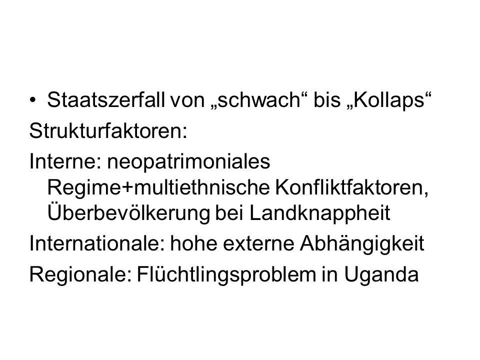 """Staatszerfall von """"schwach bis """"Kollaps Strukturfaktoren: Interne: neopatrimoniales Regime+multiethnische Konfliktfaktoren, Überbevölkerung bei Landknappheit Internationale: hohe externe Abhängigkeit Regionale: Flüchtlingsproblem in Uganda"""