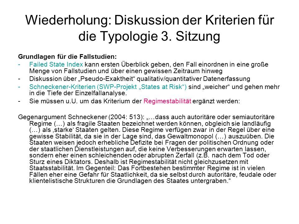 Wiederholung: Diskussion der Kriterien für die Typologie 3.