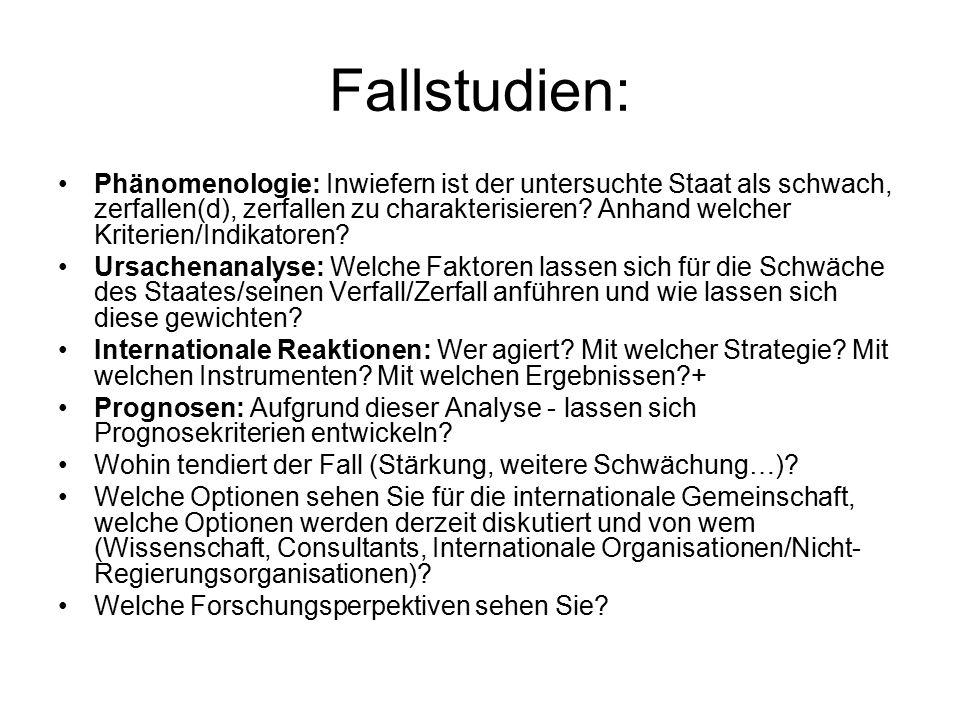 Fallstudien: Phänomenologie: Inwiefern ist der untersuchte Staat als schwach, zerfallen(d), zerfallen zu charakterisieren.