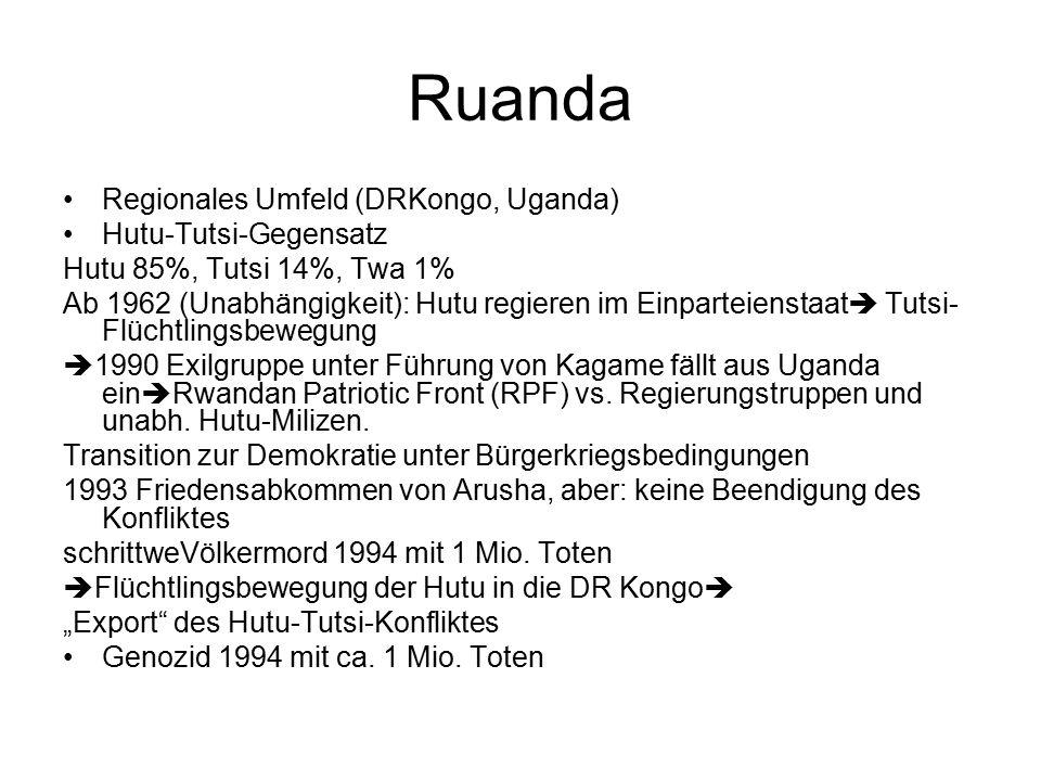 Ruanda Regionales Umfeld (DRKongo, Uganda) Hutu-Tutsi-Gegensatz Hutu 85%, Tutsi 14%, Twa 1% Ab 1962 (Unabhängigkeit): Hutu regieren im Einparteienstaat  Tutsi- Flüchtlingsbewegung  1990 Exilgruppe unter Führung von Kagame fällt aus Uganda ein  Rwandan Patriotic Front (RPF) vs.