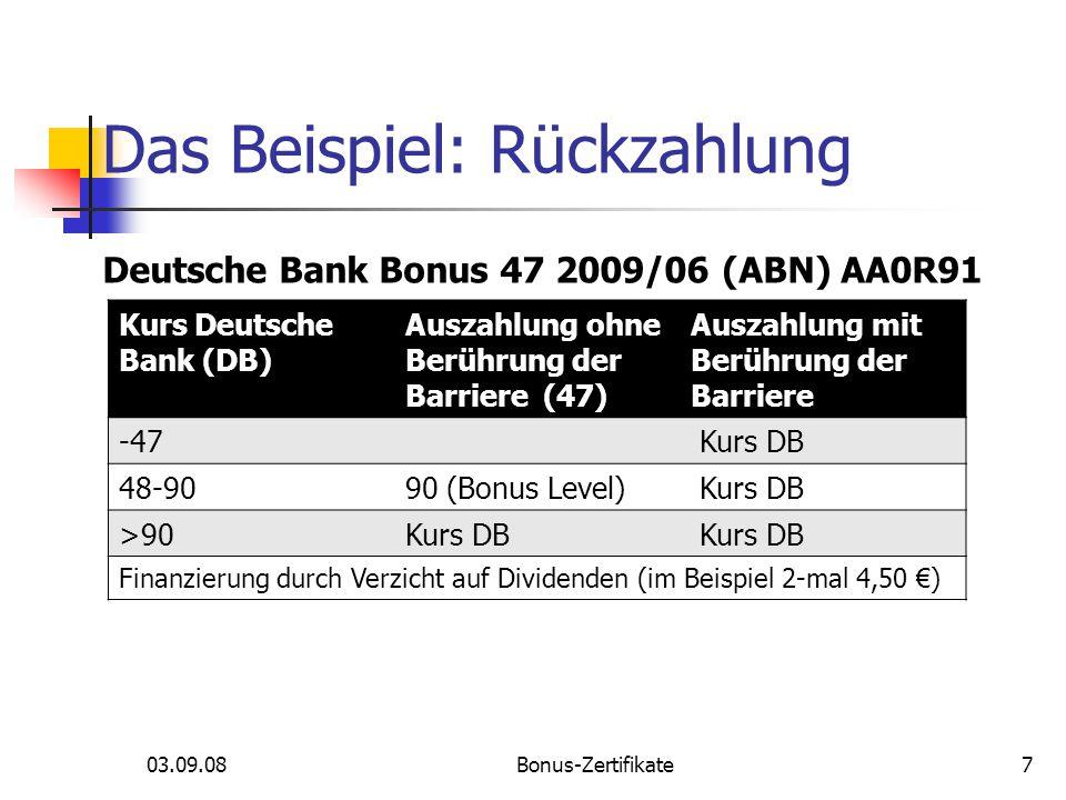03.09.08Bonus-Zertifikate Das Beispiel: Rückzahlung 7 Kurs Deutsche Bank (DB) Auszahlung ohne Berührung der Barriere (47) Auszahlung mit Berührung der