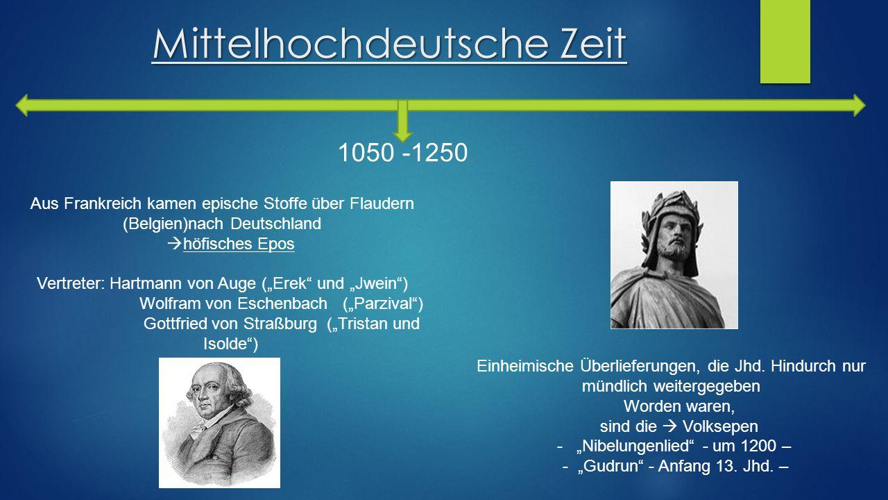 """Mittelhochdeutsche Zeit 1050 -1250 Einheimische Überlieferungen, die Jhd. Hindurch nur mündlich weitergegeben Worden waren, sind die  Volksepen - """"Ni"""