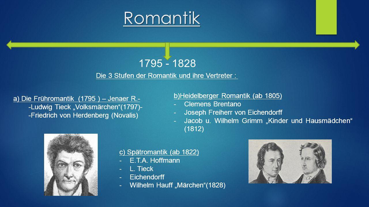 """Romantik 1795 - 1828 Die 3 Stufen der Romantik und ihre Vertreter : a) Die Frühromantik (1795 ) – Jenaer R.- -Ludwig Tieck """"Volksmärchen""""(1797)- -Frie"""