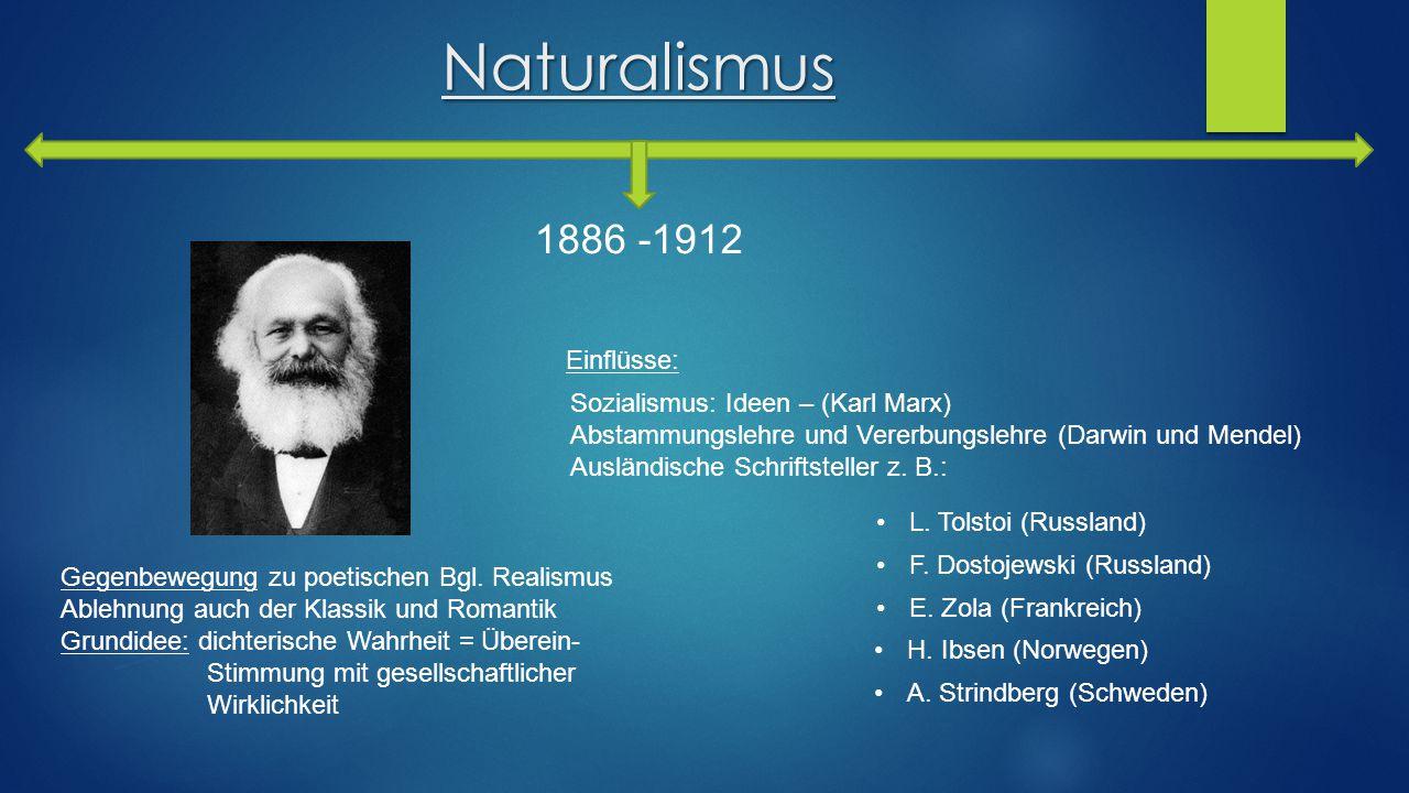 Naturalismus 1886 -1912 Gegenbewegung zu poetischen Bgl. Realismus Ablehnung auch der Klassik und Romantik Grundidee: dichterische Wahrheit = Überein-