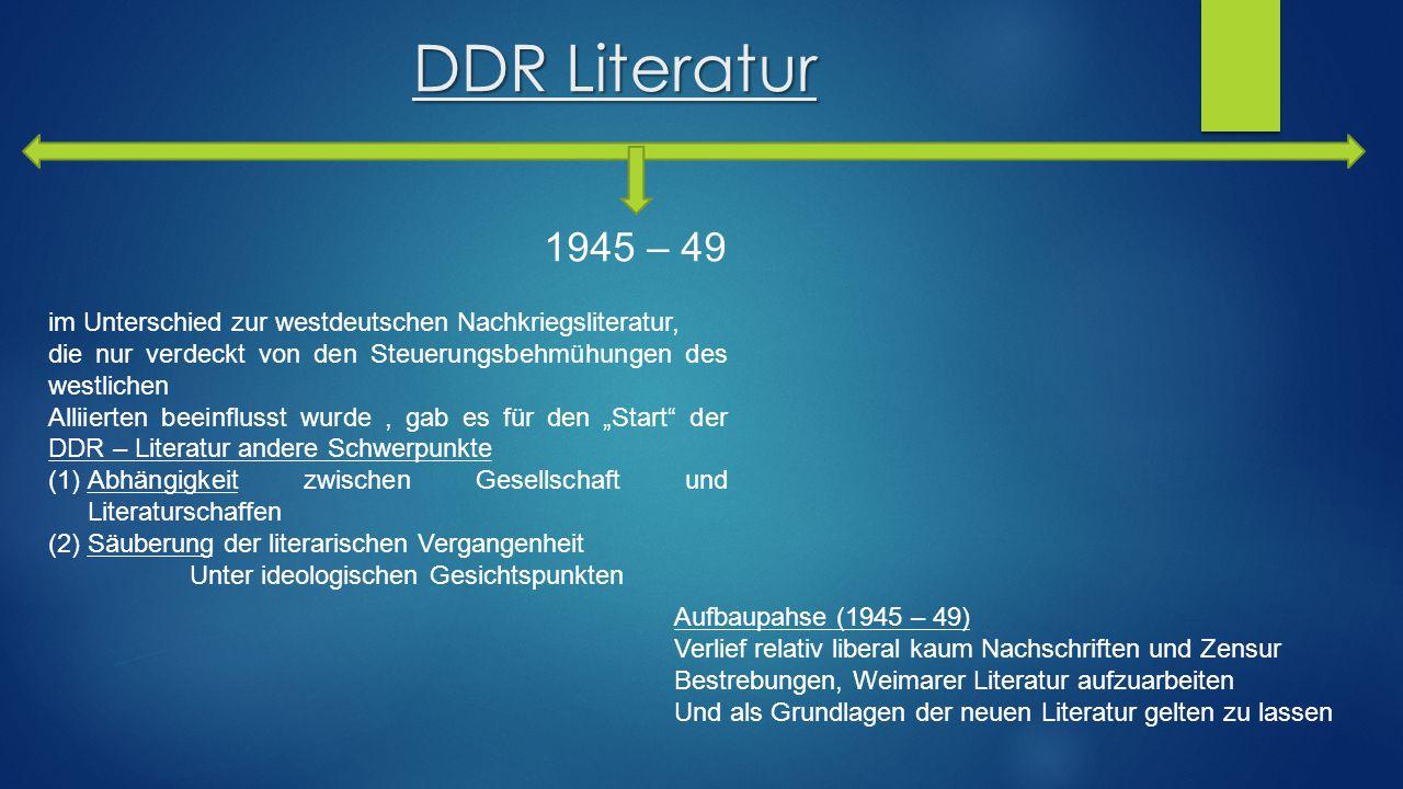 DDR Literatur im Unterschied zur westdeutschen Nachkriegsliteratur, die nur verdeckt von den Steuerungsbehmühungen des westlichen Alliierten beeinflus