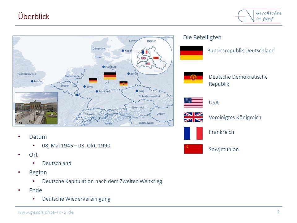www.geschichte-in-5.de Überblick Datum 08. Mai 1945 – 03. Okt. 1990 Ort Deutschland Beginn Deutsche Kapitulation nach dem Zweiten Weltkrieg Ende Deuts