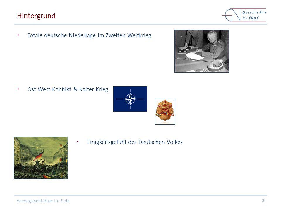 www.geschichte-in-5.de Hintergrund Totale deutsche Niederlage im Zweiten Weltkrieg Ost-West-Konflikt & Kalter Krieg 3 Einigkeitsgefühl des Deutschen V