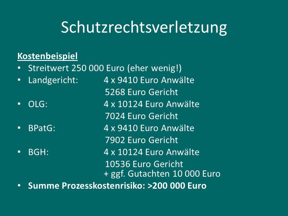 Schutzrechtsverletzung Kostenbeispiel Streitwert 250 000 Euro (eher wenig!) Landgericht:4 x 9410 Euro Anwälte 5268 Euro Gericht OLG:4 x 10124 Euro Anw