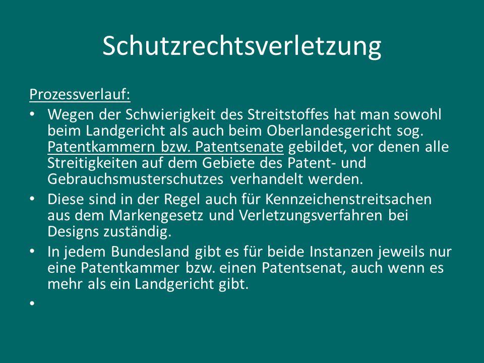 Schutzrechtsverletzung Prozessverlauf: Wegen der Schwierigkeit des Streitstoffes hat man sowohl beim Landgericht als auch beim Oberlandesgericht sog.