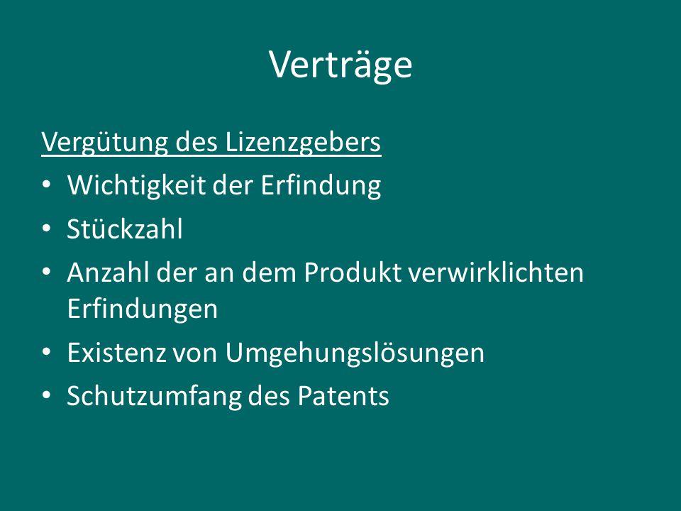 Verträge Vergütung des Lizenzgebers Wichtigkeit der Erfindung Stückzahl Anzahl der an dem Produkt verwirklichten Erfindungen Existenz von Umgehungslösungen Schutzumfang des Patents