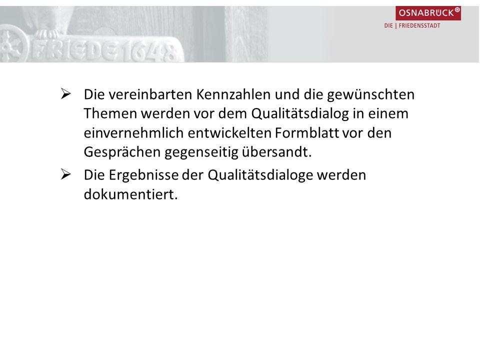  Die vereinbarten Kennzahlen und die gewünschten Themen werden vor dem Qualitätsdialog in einem einvernehmlich entwickelten Formblatt vor den Gespräc