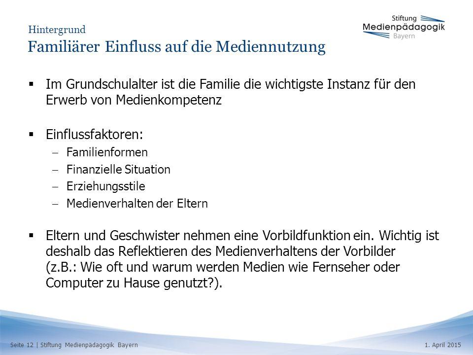 Seite 12   Stiftung Medienpädagogik Bayern1. April 2015 Hintergrund Familiärer Einfluss auf die Mediennutzung  Im Grundschulalter ist die Familie die