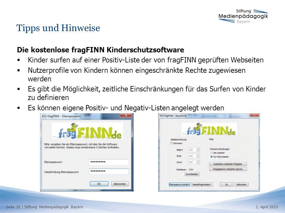 Seite 35   Stiftung Medienpädagogik Bayern1. April 2015 Tipps und Hinweise Die kostenlose fragFINN Kinderschutzsoftware  Kinder surfen auf einer Posi