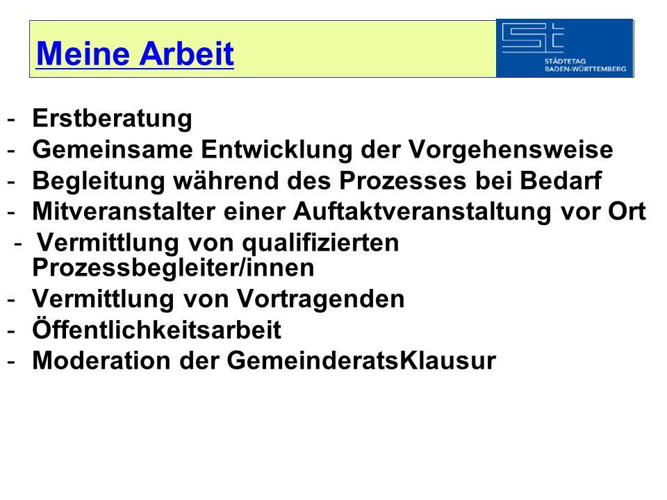 Meine Arbeit -Erstberatung -Gemeinsame Entwicklung der Vorgehensweise -Begleitung während des Prozesses bei Bedarf -Mitveranstalter einer Auftaktveran