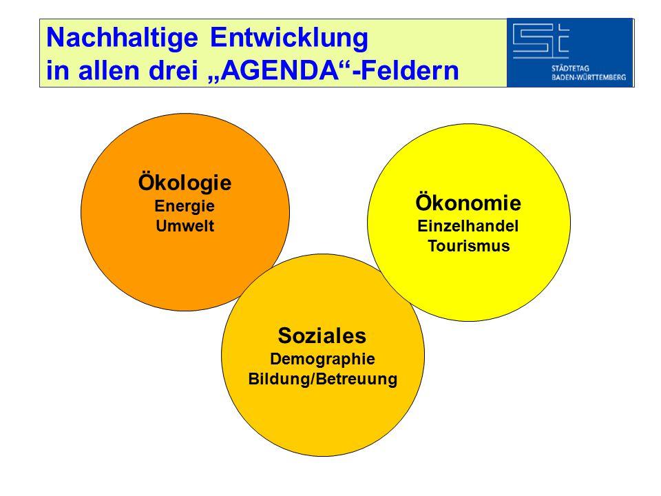 """Nachhaltige Entwicklung in allen drei """"AGENDA""""-Feldern Ökologie Energie Umwelt Soziales Demographie Bildung/Betreuung Ökonomie Einzelhandel Tourismus"""
