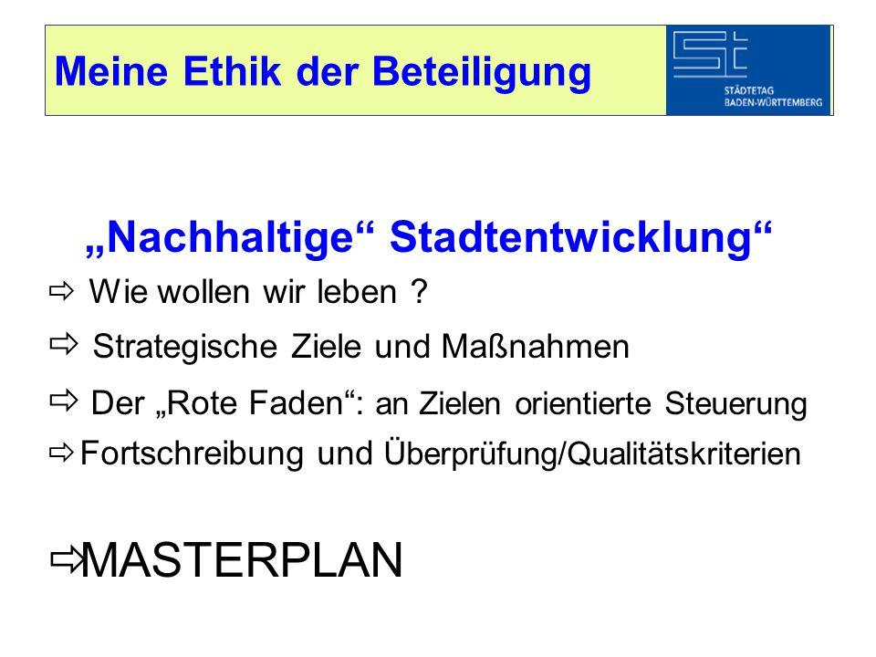 """Meine Ethik der Beteiligung """"Nachhaltige"""" Stadtentwicklung""""  Wie wollen wir leben ?  Strategische Ziele und Maßnahmen  Der """"Rote Faden"""": an Zielen"""