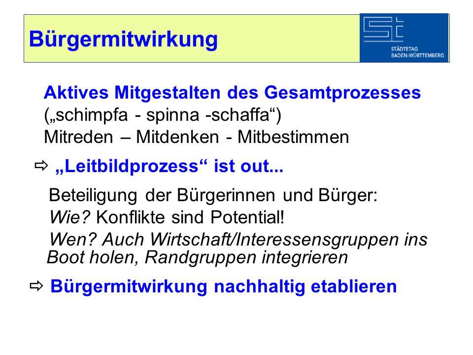 """Bürgermitwirkung Aktives Mitgestalten des Gesamtprozesses (""""schimpfa - spinna -schaffa"""") Mitreden – Mitdenken - Mitbestimmen  """"Leitbildprozess"""" ist o"""