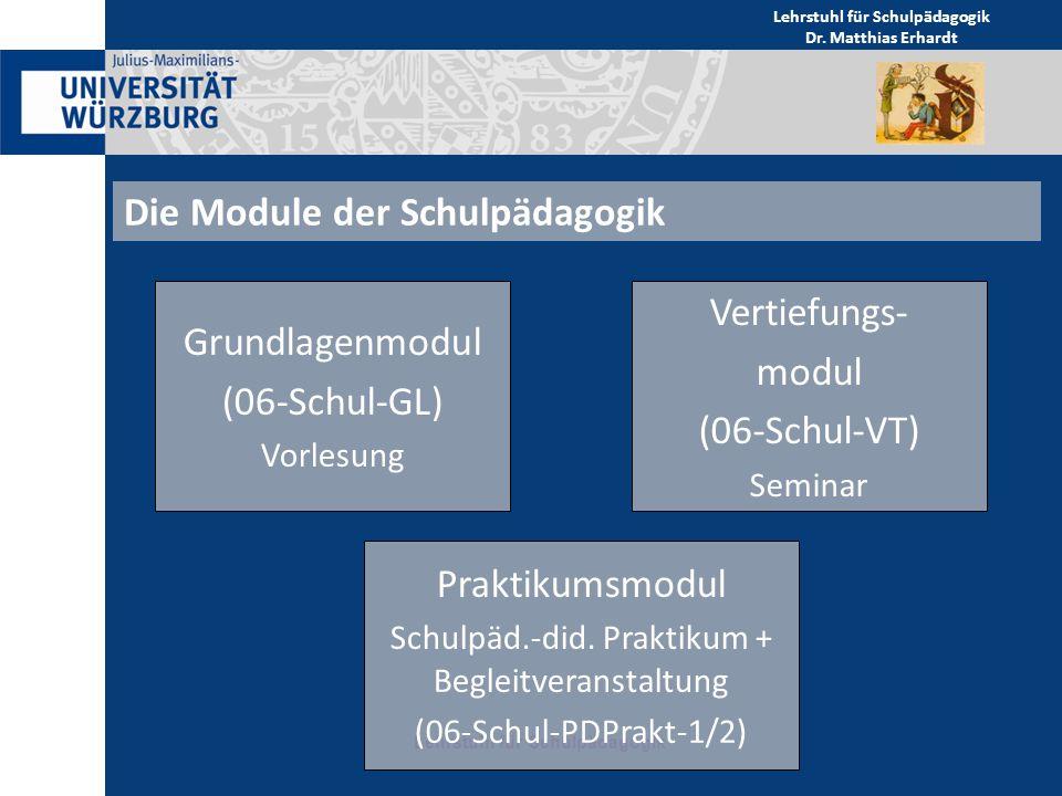 Die Module der Schulpädagogik Lehrstuhl für Schulpädagogik Grundlagenmodul (06-Schul-GL) Vorlesung Praktikumsmodul Schulpäd.-did. Praktikum + Begleitv