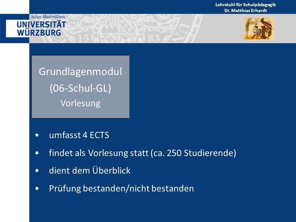 Grundlagenmodul (06-Schul-GL) Vorlesung umfasst 4 ECTS findet als Vorlesung statt (ca. 250 Studierende) dient dem Überblick Prüfung bestanden/nicht be