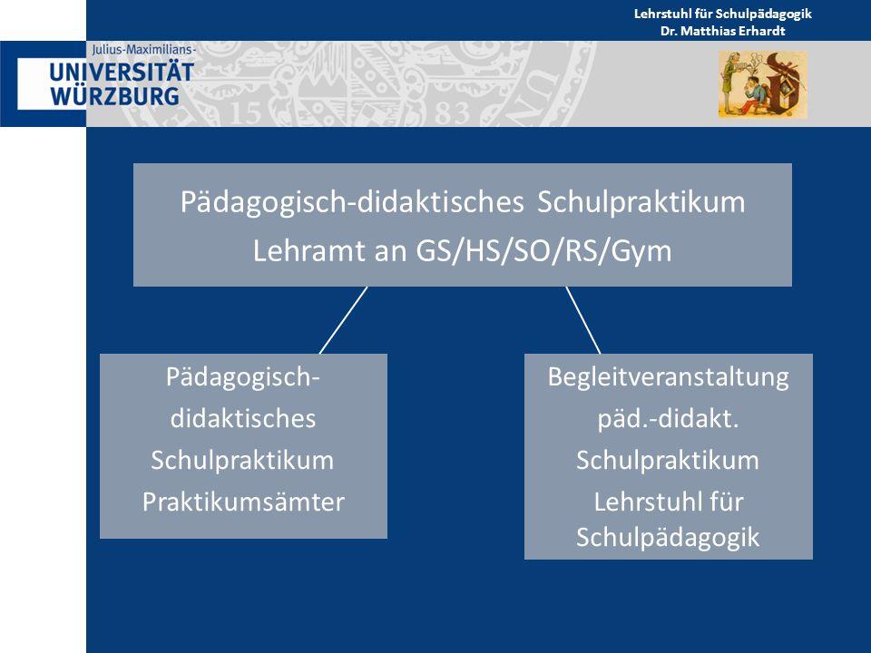 Die Begleitveranstaltung umfasst 2 ECTS Sie findet teilweise (vom Lehramt abhängig) als Vorlesung statt Prüfung bestanden/nicht bestanden Details von den LeiterInnen der Praktikumsämter (Frau Gutwerk GS/HS/SO, Frau Neumeier RS, Herr Hunger GYM) Lehrstuhl für Schulpädagogik Dr.