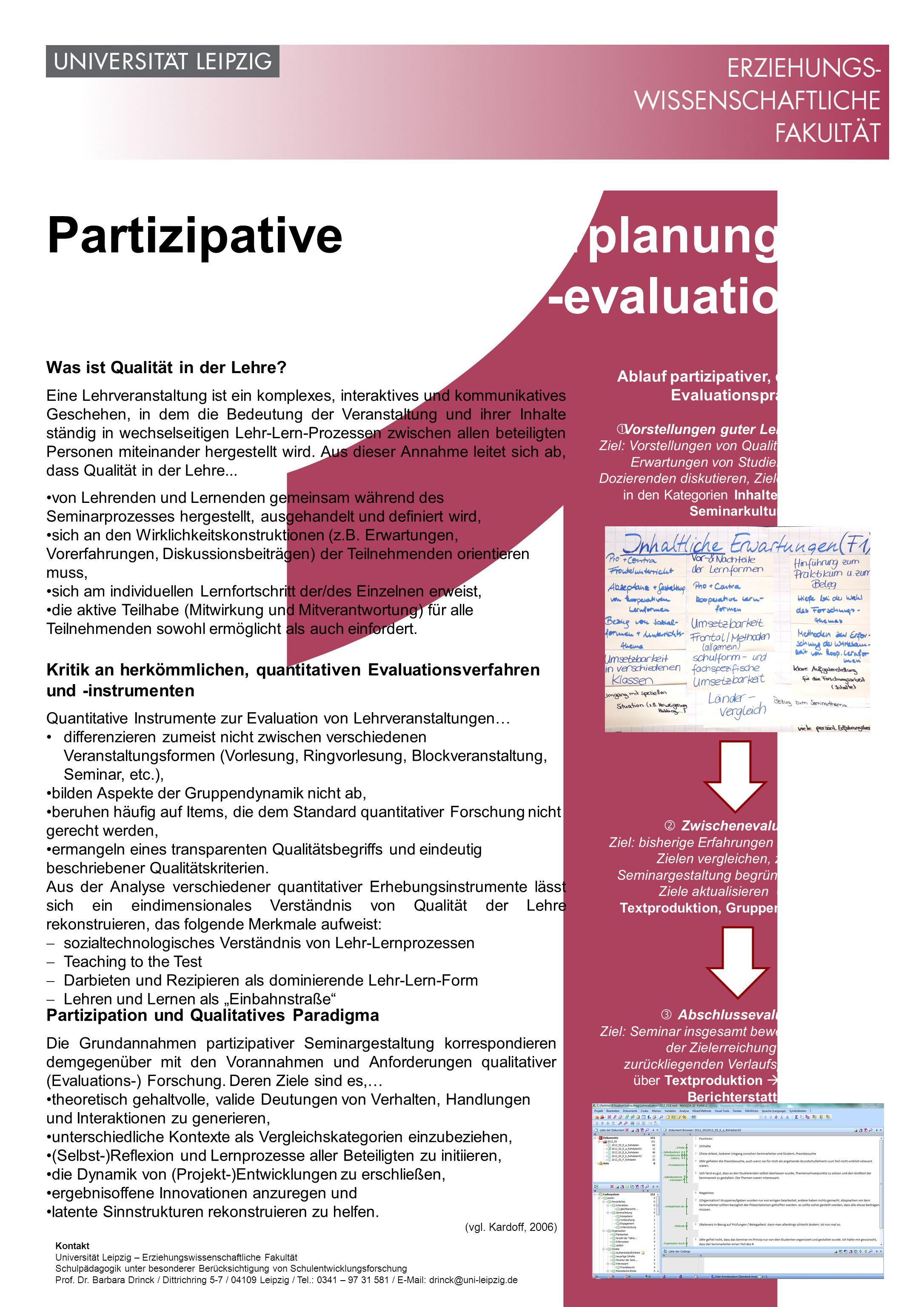 1 Partizipative Seminarplanung und -evaluation Was ist Qualität in der Lehre.
