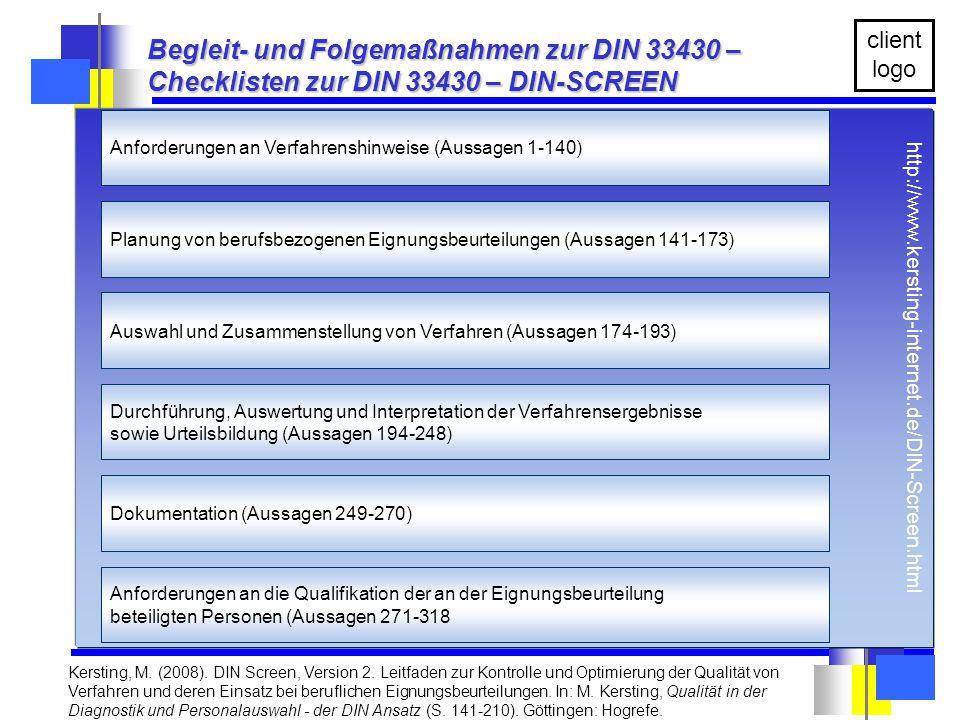 Die Unterlagen sind ausschließlich zum persönlichen Gebrauch. client logo Kersting, M. (2008). DIN Screen, Version 2. Leitfaden zur Kontrolle und Opti