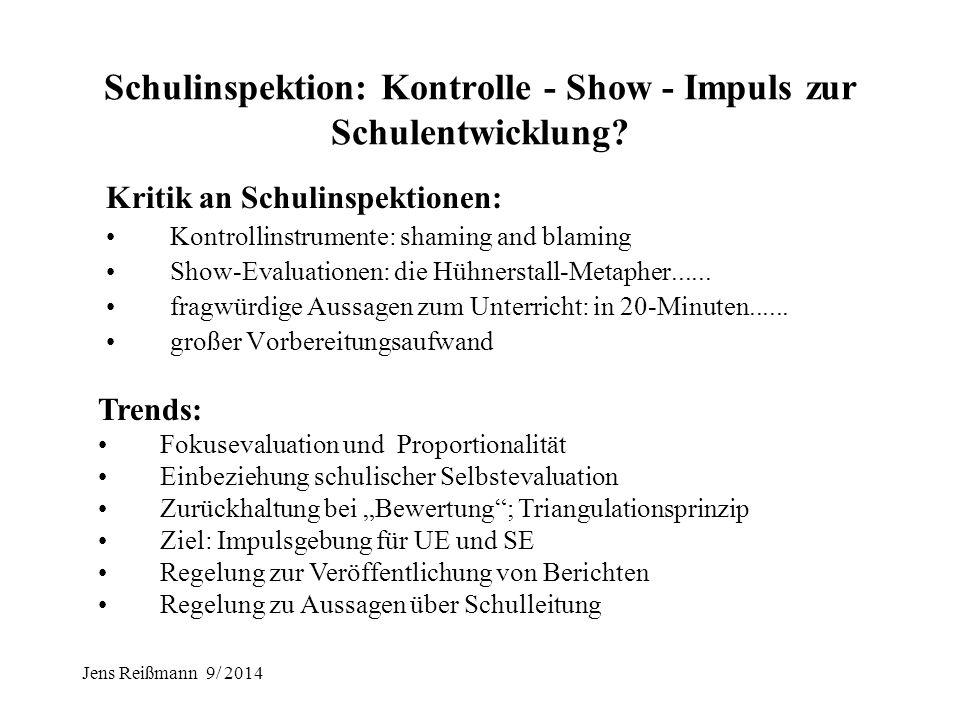 """Jens Reißmann 9/ 2014 """" Unterstützung statt Testeritis!"""" 1.Kritik an IQB-Ländervergleichen: öffentliche Aufmerksamkeit verführt zu legitimatorischen S"""
