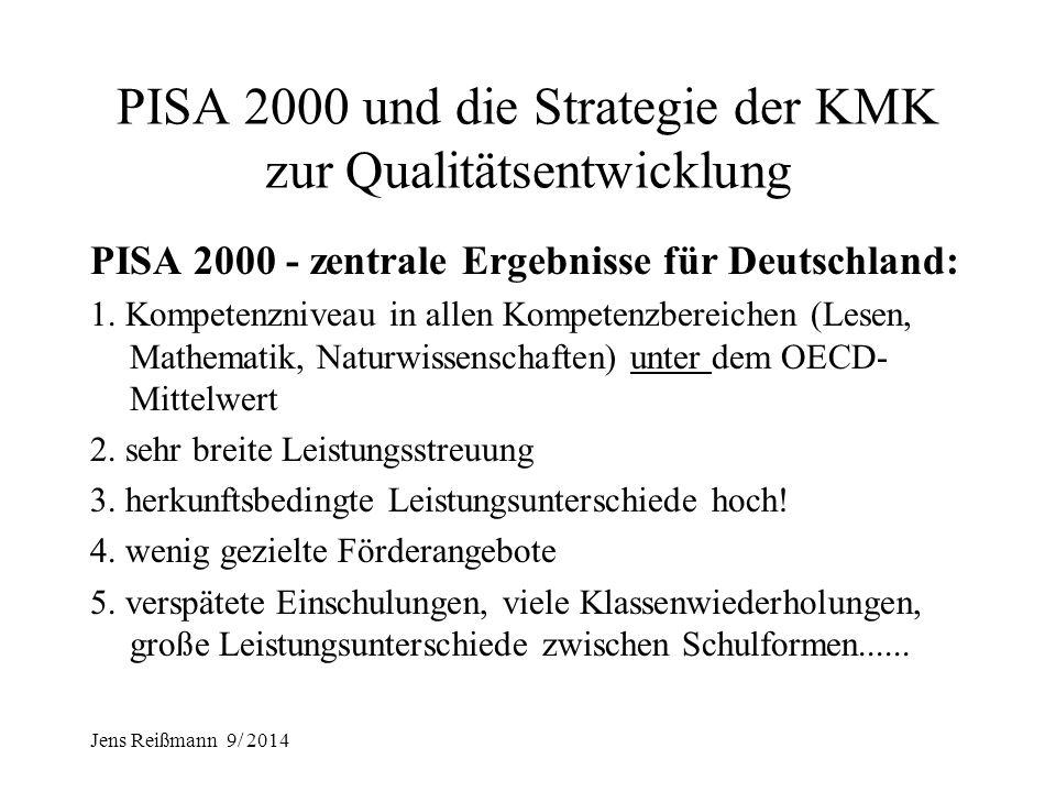 Jens Reißmann 9/ 2014 Qualitätsentwicklung in der Schule seit PISA 2000 I.PISA 2000 und die Strategie der KMK zur Qualitätsentwicklung (QE) von Schule