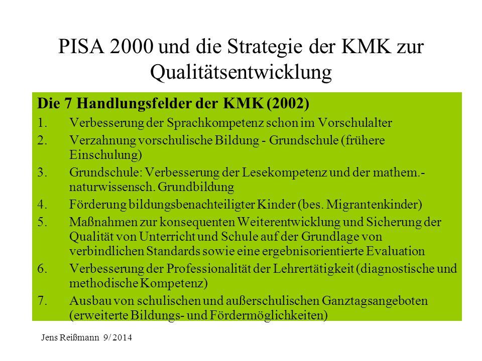 Jens Reißmann 9/ 2014 PISA 2000 und die Strategie der KMK zur Qualitätsentwicklung PISA 2000 - zentrale Ergebnisse für Deutschland: 1. Kompetenzniveau