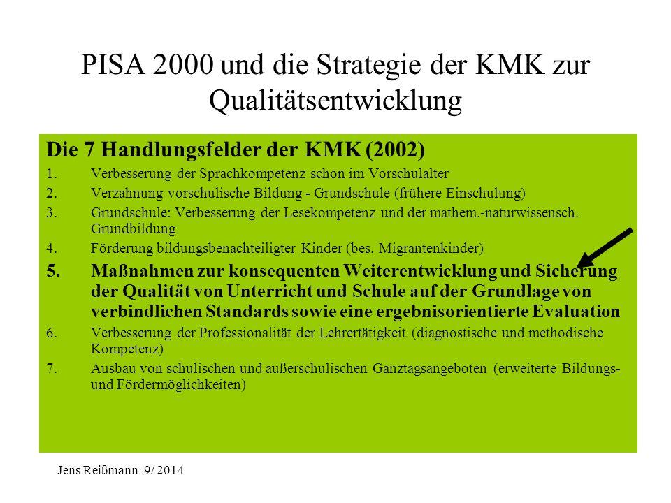 Jens Reißmann 9/ 2014 PISA 2000 und die Strategie der KMK zur Qualitätsentwicklung Die 7 Handlungsfelder der KMK (2002) 1.Verbesserung der Sprachkompe