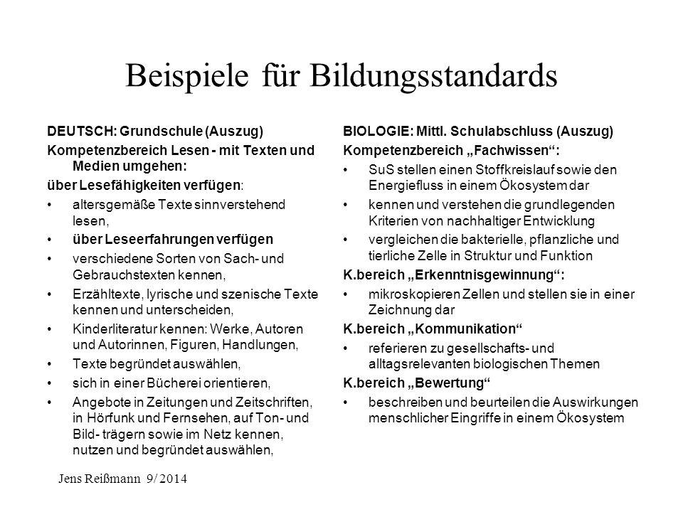 Jens Reißmann 9/ 2014 A: Sicherung und Weiterentwicklung der Unterrichtsqualität A.1 Einführung nationaler Bildungsstandards für den Fachunterricht -U
