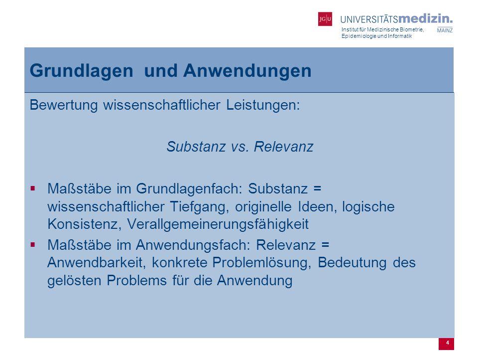 Institut für Medizinische Biometrie, Epidemiologie und Informatik 4 Grundlagen und Anwendungen Bewertung wissenschaftlicher Leistungen: Substanz vs.