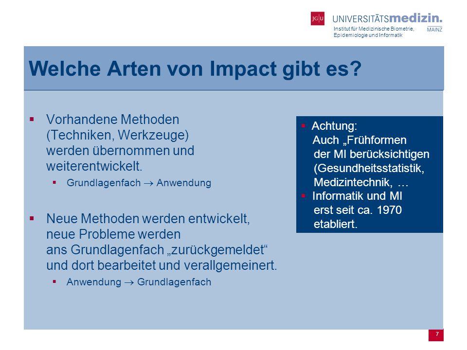 Institut für Medizinische Biometrie, Epidemiologie und Informatik 7 Welche Arten von Impact gibt es?  Vorhandene Methoden (Techniken, Werkzeuge) werd