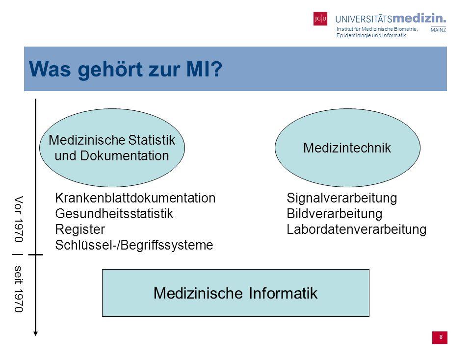 Institut für Medizinische Biometrie, Epidemiologie und Informatik 8 Was gehört zur MI? Medizinische Informatik Medizinische Statistik und Dokumentatio
