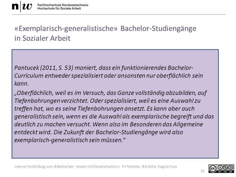 Interne Fortbildung zum didaktischen Ansatz «Schlüsselsituation», FH Münster, 8.9.2014, Regula Kunz Pantucek (2011, S.