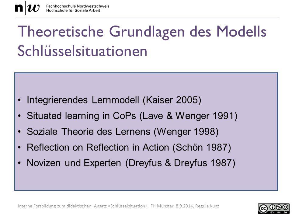 Interne Fortbildung zum didaktischen Ansatz «Schlüsselsituation», FH Münster, 8.9.2014, Regula Kunz Theoretische Grundlagen des Modells Schlüsselsituationen Integrierendes Lernmodell (Kaiser 2005) Situated learning in CoPs (Lave & Wenger 1991) Soziale Theorie des Lernens (Wenger 1998) Reflection on Reflection in Action (Schön 1987) Novizen und Experten (Dreyfus & Dreyfus 1987)