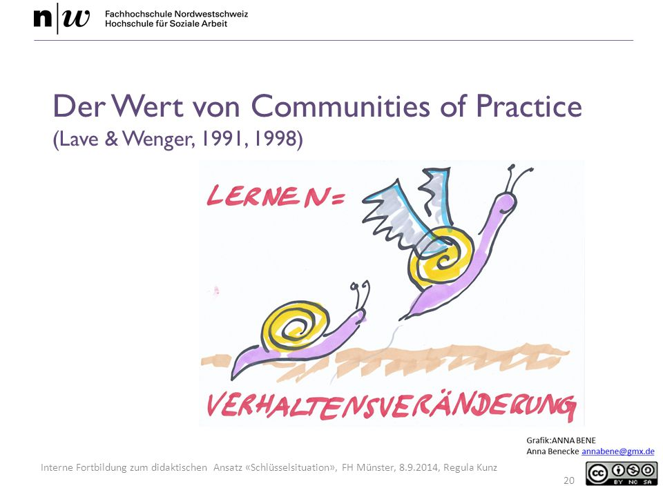 Interne Fortbildung zum didaktischen Ansatz «Schlüsselsituation», FH Münster, 8.9.2014, Regula Kunz 20 Der Wert von Communities of Practice (Lave & We