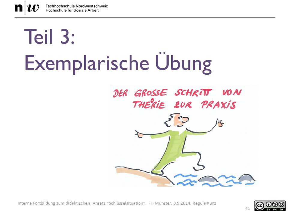 Interne Fortbildung zum didaktischen Ansatz «Schlüsselsituation», FH Münster, 8.9.2014, Regula Kunz Teil 3: Exemplarische Übung 46
