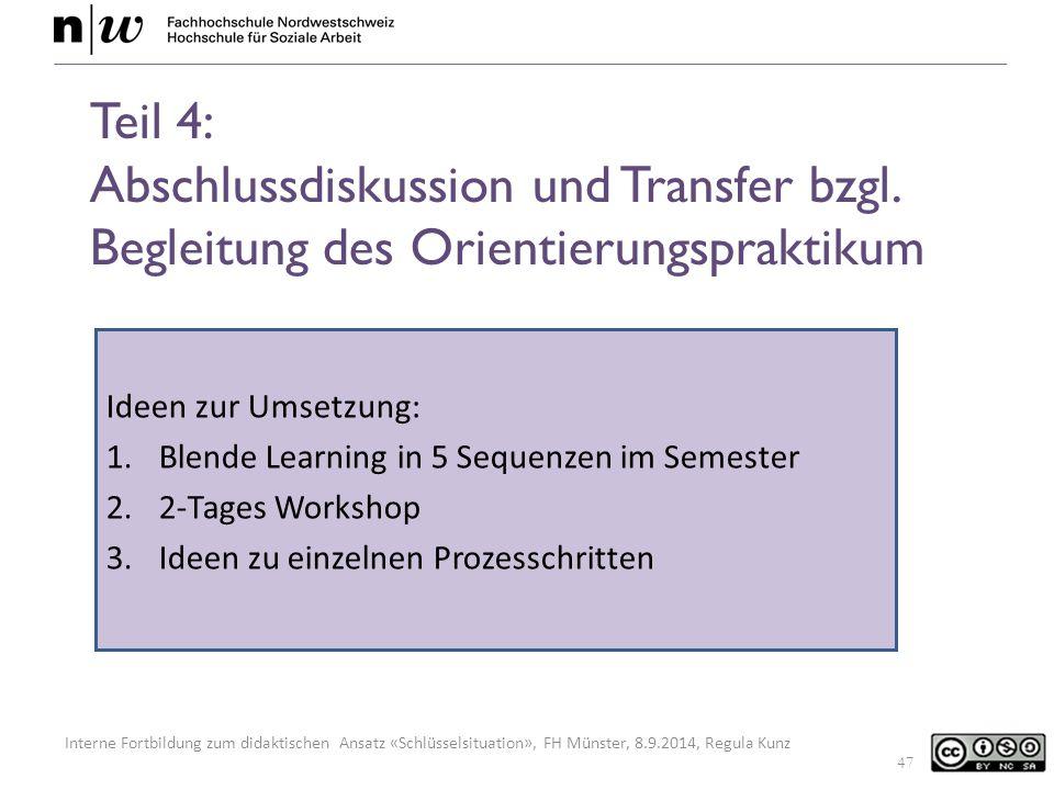 Interne Fortbildung zum didaktischen Ansatz «Schlüsselsituation», FH Münster, 8.9.2014, Regula Kunz Teil 4: Abschlussdiskussion und Transfer bzgl.