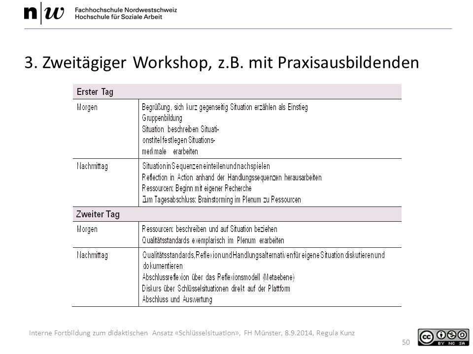 Interne Fortbildung zum didaktischen Ansatz «Schlüsselsituation», FH Münster, 8.9.2014, Regula Kunz 50 3.